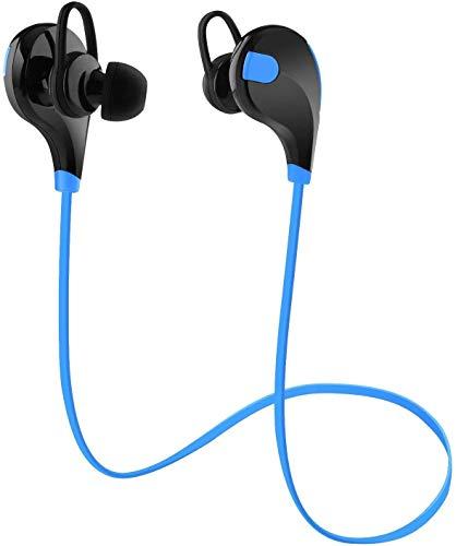 Toysdone Wireless Headphones Stereo Earbuds Wireless Sport Earphones for Running with Mic (6 Hours Play Time, Bluetooth 4.0, IPX4 Sweatproof, Secure Ear Hooks Design) (Black/Blue)