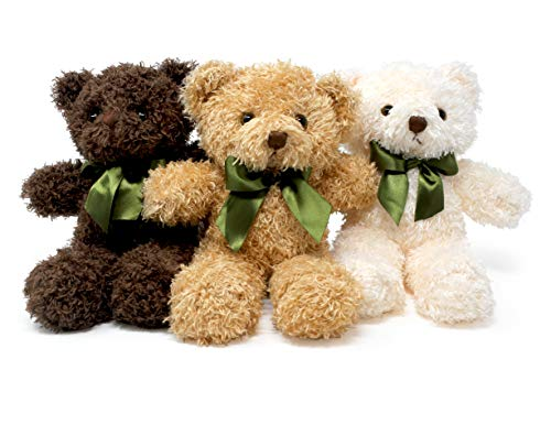 Fluffuns Teddy Bear Plush - Cute Teddy Bears Stuffed Animals in 3 Colors - 3-Pack of Stuffed Bears - 9 Inch Height