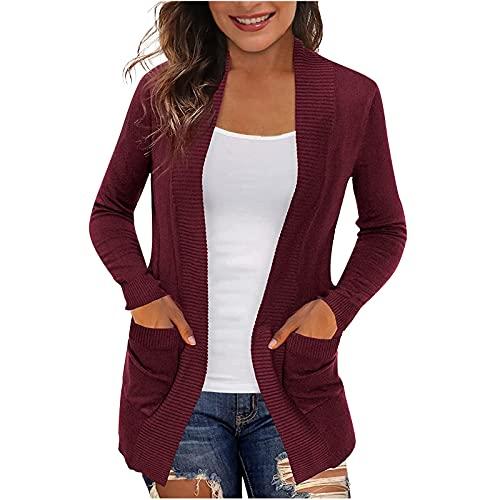 Cappotti casual da donna, stile vintage, casual, con scollo a V, tinta unita, da donna, vino, L
