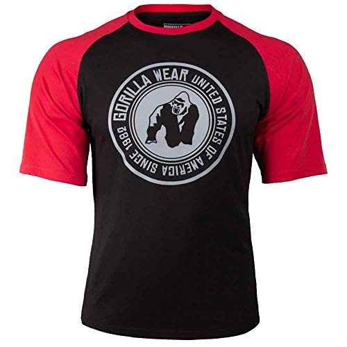 GORILLA WEAR Herren Shirt - Texas T-Shirt - Top Kleidung Rag Oldschool Muscle Black/Red L