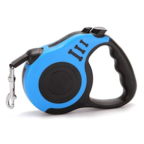 CENY einziehbare Hundeleine, Bissfeste, einfache 1 Knopf Break&Lock Sicherheit; 3 m/5 m Starkes Nylonband, für kleine und mittelgroße Haustiere bis 10 kg
