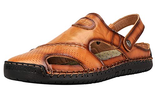 JIONS Mens Closed Toe Leather Sandals, Men's Outdoor Fisherman Hiking Walking Sport Adjustable Slip on Summer Beach Sandals (A/Yellow Brown, 41/8 US)