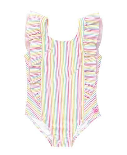RuffleButts Girls Rainbow Stripe Waterfall One Piece - 7