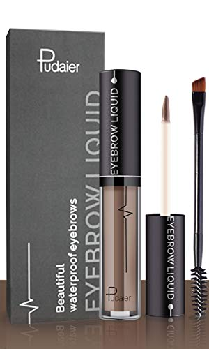 Waterproof Eyebrow Gel, Long Lasting Smudge-Proof Liquid Brow Makeup Tint, Brow Shaper with Mascara Primer Brush Wand Kit (Brunette Color)