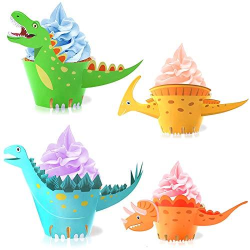WELLXUNK® Dinosaurier Cupcake Wrapper, doppelseitig, Dinosaurier Kuchen Dekoration für Kinder Party Dinosaurier Geburtstag Deko Jungen Mädchen…
