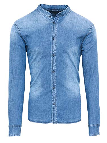 Evoga Camicia di Jeans Uomo Casual con Collo alla Coreana Slim Fit (L, Celeste)