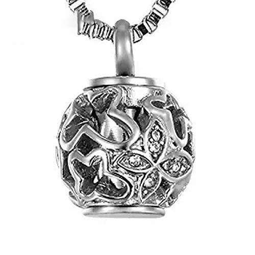LQLQ Einäscherung Schmuck aus Titan Stahl Laterne Hollowed Asche Box Funeral Halskette eröffnete Parfüm-Flasche Anhänger Werden kann,Silver