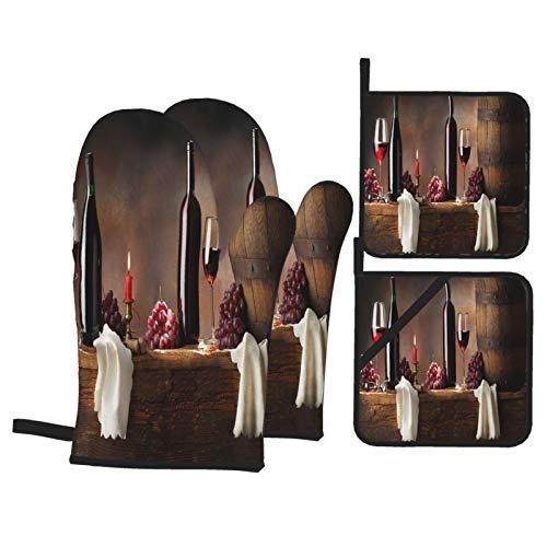 Juegos de Manoplas y Porta ollas para Horno,Bodegón con Vino Tinto en Madera Vieja Guantes de Cocina Resistentes al Calor para Hornear en la Cocina, Parrilla, Barbacoa,BBQ
