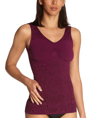 belly cloud Damen Unterhemd figurformendes Top mit Paisley Design, Gr. 44/46 (XXL), Violett (aubergine)