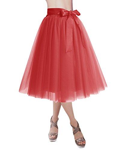DRESSTELLS Knee Length Tulle Skirt Tutu Skirt Evening Party Gown Prom Formal Skirts Red L-XL