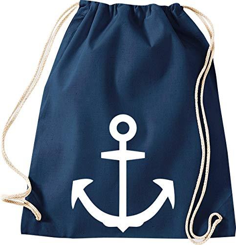 Shirtinstyle Turnbeutel Kapitän Seemann Anker Gym Sack Tasche Beutel, Farbe blau