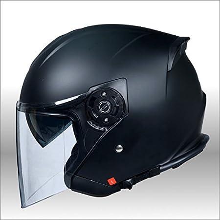 ワンタッチインナーバイザー付きジェットヘルメット HAYABUSA 隼 バイク用 かっこいい クレスト ダブルシールド XL(61~62cm),パールシルバー