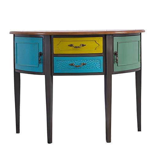 Consola semicircular con correa, mesa consola de madera maciza con 4 cajones, consola de pasillo de estilo rústico, mesa de sofá de la sala de estar, utilizada en esquinas estrechas, entradas, pasil