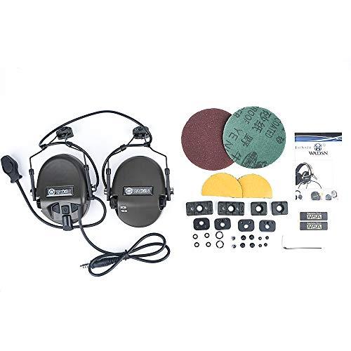 3PC 戦術ヘッドセット ヘルメットレールアダプター 音ピックアップ機能 ノイズ除去機能 タクティカルヘッドセット (OD)