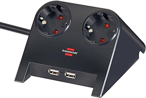 Brennenstuhl Desktop-Power, Steckdosenleiste 2-fach für den Tisch (Tischsteckdose mit 1,8m Kabel, Gummifüßen und 2-fach USB) schwarz poliert