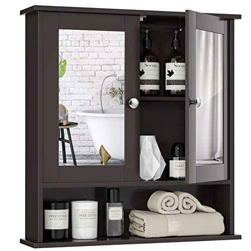 Tangkula Bathroom Cabinet Wall Mounted with Double Mirror Doors Wood Hanging Cabinet with Doors and Shelves Bathroom Wall Mirror Cabinet Brown