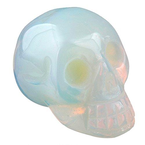 rockcloud Healing Crystal Stone Human Reiki Skull Figurine Statue Sculptures Opalite 1.5'