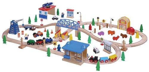 Maxim Enterprise Inc Wooden Train Set, 100-Piece