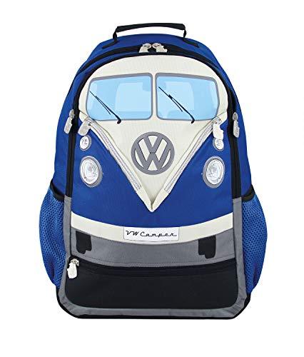 BRISA VW Collection - Stylisher & lässiger Volkswagen Wander-Laptop-Tages-Schul-Rucksack mit VW T1 Bulli Bus (Bis 17.1 Zoll/Front/30l/M-L/Blau)
