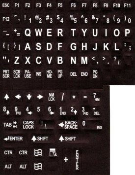LARGE PRINT KEYBOARD STICKERS KTSW - Large Print English Keyboard Stickers Labels Overlays (Lexan polycarbonate, 3M adhesive) for the Visually Impaired (Non Transparent - Black with White Letters)