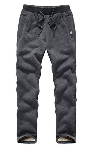Calça de moletom masculina KLJR Sherpa forrada com fleece para ioga, Cinza, XX-Large