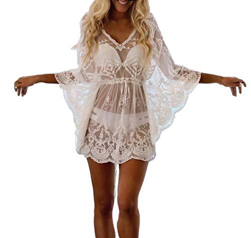 DNFC Strandkleid Damen Badeanzug Kurz Sommer Strand Kleider Schöne Spitze Beach Kleid Bikini Cover Up Strand Tunika Pareo Strandkleider für Urlaub (Weiß, One Size)