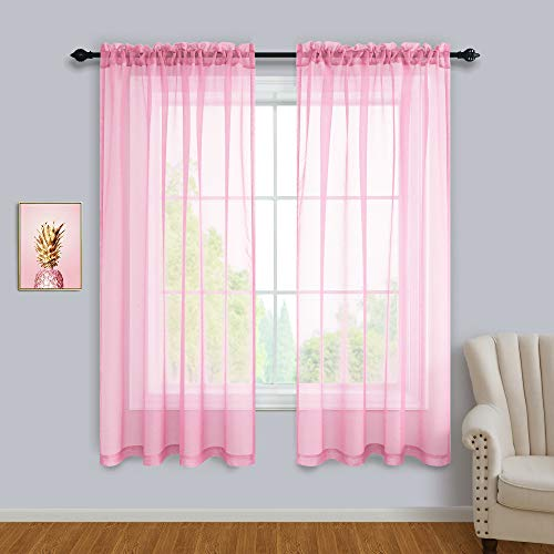 Pink Sheer Curtains 63 Inch Length for Girls Room Decor Window 2 Panels Set Kids Curtains for Bedroom Girls Bed Canopy Teen Girls Bedroom Decoration