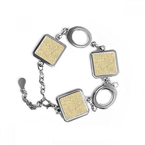 DIYthinker gele patronen schors vingerafdruk vierkante vorm metalen armband liefde geschenken sieraden met ketting decoratie