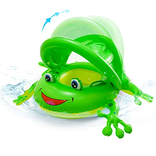 AJATA Inflatable Baby Pool Float  Frog Baby Pool Float with Canopy Baby Water Float Toy Summer Party Decorations for Kids Aged 13 Years Including Fast valves Safety Seat Handles Bright Green