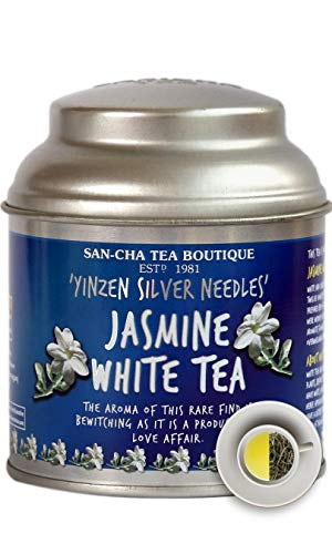 Sancha Tea Boutique, Jasmine White Tea(25X3 Cups), Pure Tea Buds Married to Real Jasmine Flowers, Worlds Healthiest Tea, Silver Needles White Tea