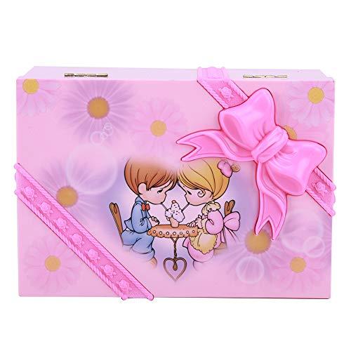 Oumefar Caja de música Rosa Delicada, Caja de Almacenamiento de Joyas para Bailarina, diseño de Espejo para alfileres para un Regalo Maravilloso