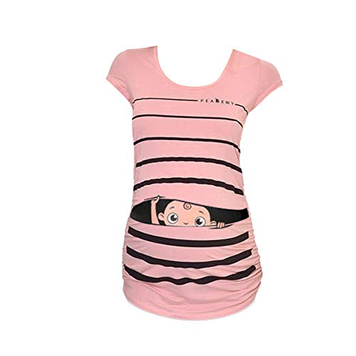 Amphia - Mutterschaft niedliche lustige gestreiften Kurzarm T-Shirt Schwangere Tops - Schwangere Frauen Rundhalsausschnitt lustiges Baby kurzärmliges T-Shirt für Schwangere Frauen