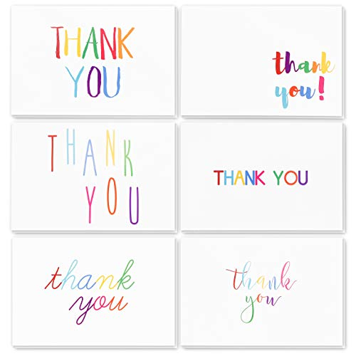 144-Count Bulk Thank You Cards, 6 Colorful Rainbow Font Designs, Blank Inside with Envelopes for Wedding, Baby Showers & All Occasions, 4 x 6 inches