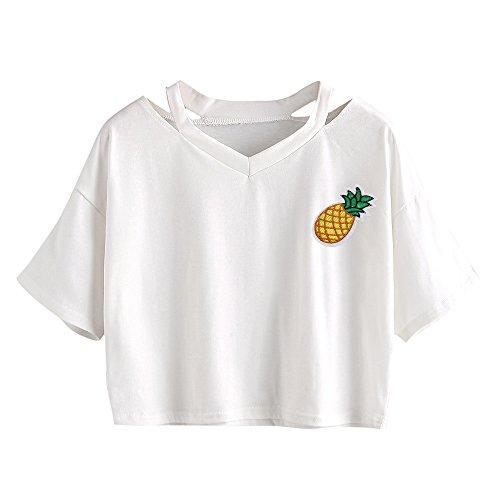 Crop Top Damen Sommer, Ulanda Teenager Mädchen Ananas Stickerei Bauchfrei Bluse Sport V-Ausschnitt Tops Shirt Hemd Frauen Kurzarm Lässiges T Shirt Oberteil Pullover Sale (Weiß, S)