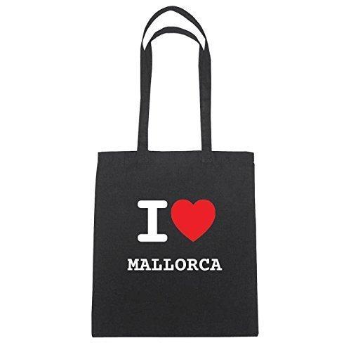 JOllify MALLORCA Baumwolltasche Tasche Beutel B5036black - Farbe: schwarz: I love - Ich liebe