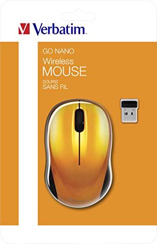 VERBATIM GO NANO-Computermaus - kabellose Maus mit 3 Tasten - Funkmaus für Laptop, Notebook, PC und MAC mit 2,4 GHz-Funktechnologie und 1600 dpi - Verbindung via Nano-Receiver - Orange