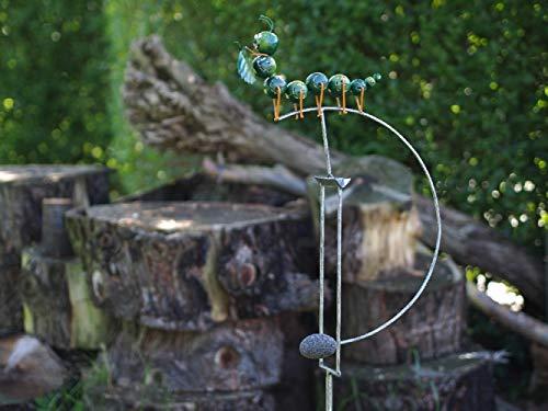 Thermobrass Windspiel Wippe aus Metall - Gartenfigur Gartendeko - Raupe Käfer - XXL 145x17x35cm - exkl. Handarbeit - jeder Artikel EIN Unikat - MD16107