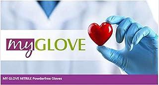 My Glove, guantes de nitrilo azul, guantes de examen, sin polvo, sin látex, no estériles, sin látex, guantes médicos desechables de calidad hospitalaria, en paquete de 100, [M-(7-8)]