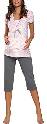 Italian Fashion IF Damen Stillpyjama F2L3C3T1 0225 (Aprikose/Grau, M)
