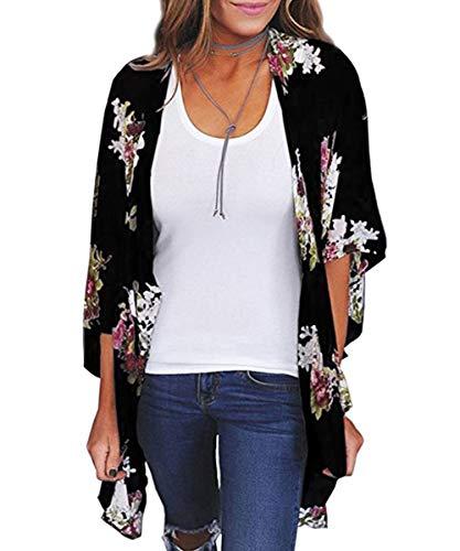 Durio - Kimono para Mujer, Estilo Boho, Kimono Ligero con Flores Negro XXL
