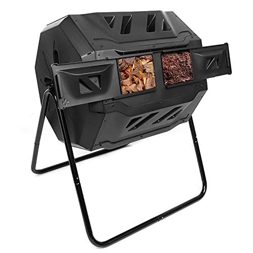 Dripex Composteur de Jardin Rotatif 360° Double Chambre 160L Bac à Compost pour Déchets Pelouse - Noir