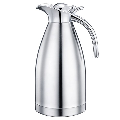 Gabbay 2L Vacuum Insulated Carafe/Coffee Carafe, With Press Button Top, Double Wall/18/10 Stainless Steel/Water Pitcher
