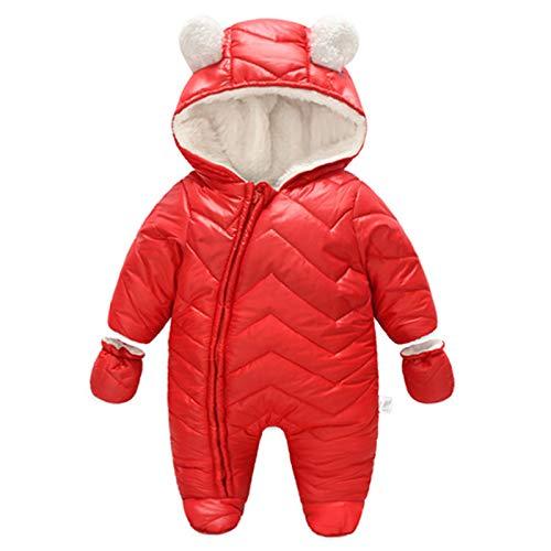 Haokaini Baby Strampler Winter Warm Schneeanzug Daunen Kapuze Fleece Overall Kleinkind Reißverschluss Bodysuit Outfits Verdickte Säugling Winter Kleidung für 0-12M Mädchen Jungen Gr. 6-12 Monate, rot