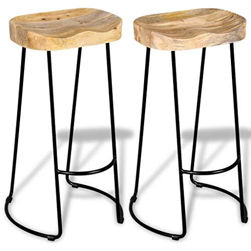 RommelarEU Gavin barkruk 2 stuks mangohout massief meubels stoelen kruk & barkruk