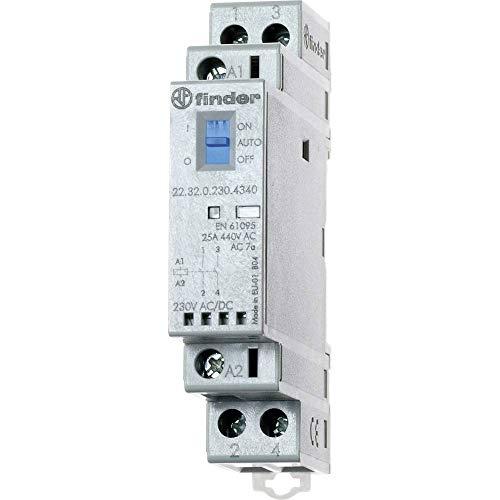 Finder serie 22 - Contactor modular 2nc 24v agsno2 indicador mecanico +led