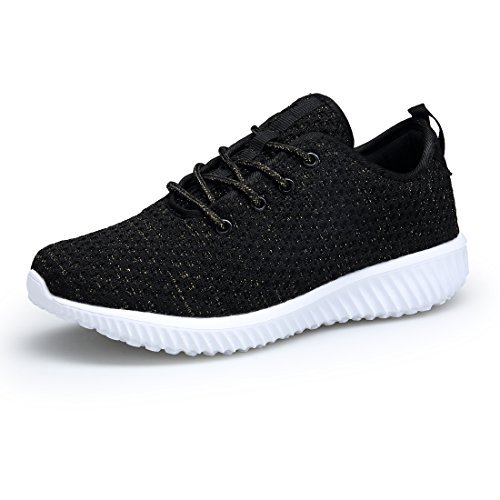 DOMOGO Kumikiwa Womens Sneakers Casual Shoes Sport Running Breathable Walking Shoes Black, 8.5