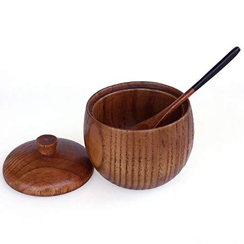 Marginf - Tarro de madera maciza para especias (azucarero, salero, pimienta, condimento, con cuchara y tapa, herramienta de cocina