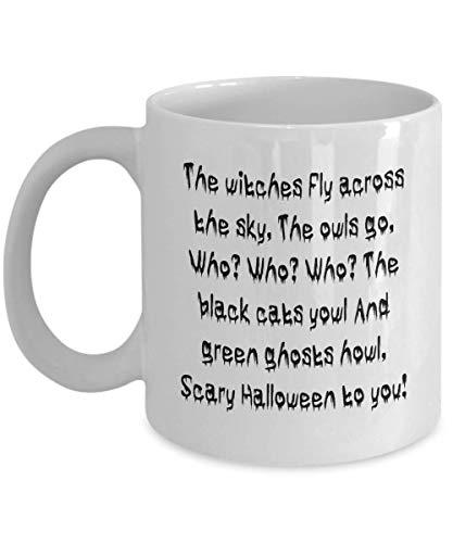 N\A Taza de caf de Halloween Casa Diseo de Bricolaje Truco o Trato Esqueleto Disfraz de Calavera Calabaza Espeluznante