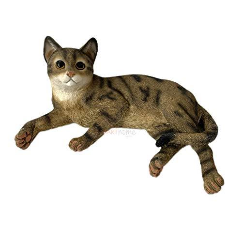 Darthome Ltd Lying Tabby Kitten Ornament Decorative Figurine Home Cat Lover Gift Statue New 14cm