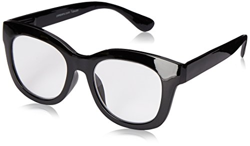 Peepers by PeeperSpecs Women's Center Stage Focus Oversized Reading Glasses, Black-Original Lens, 55 mm, +2.00